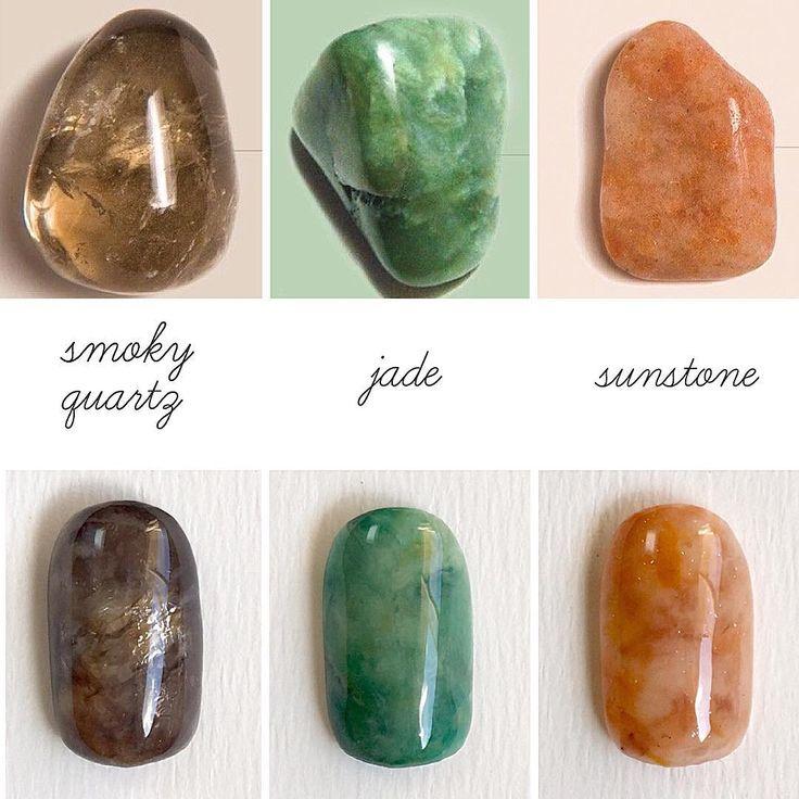 smoky quarts, jade and sunstone nails
