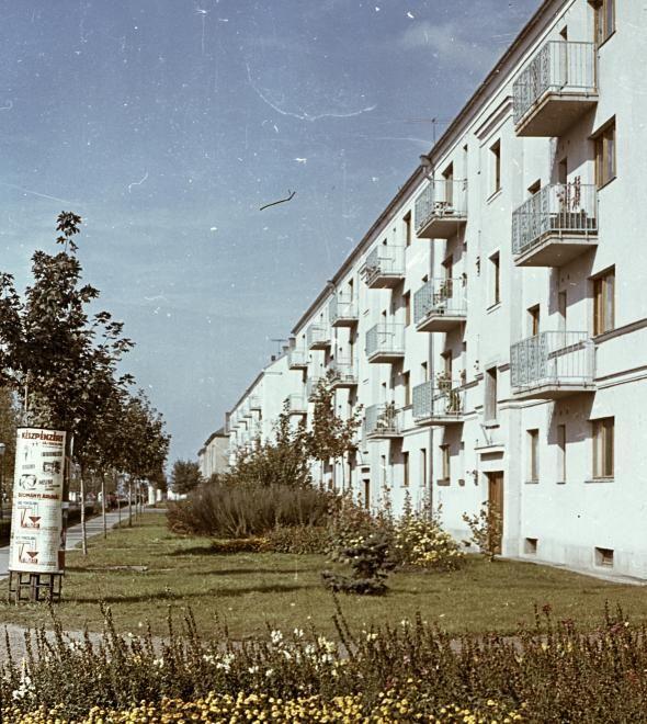 Szórád Márton út az Építők útja kereszteződéséből fényképezve.