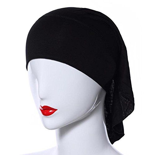 Weixinbuy Muslim Women Soft Comfortable Inner Hijab Caps Black *** Details can be found by clicking on the image.