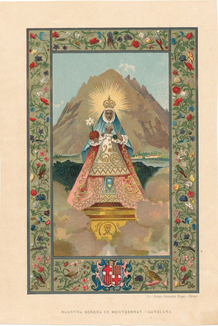 Nuestra Señora de Montserrat A lithograph of the miraculous statue of Our Lady of Montserrat in Catalnoia, Spain.