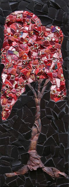 Red Tree   (sold) by Kath Jones - Cool idea for monochromatic theme (use different types of tesserae all the same color)