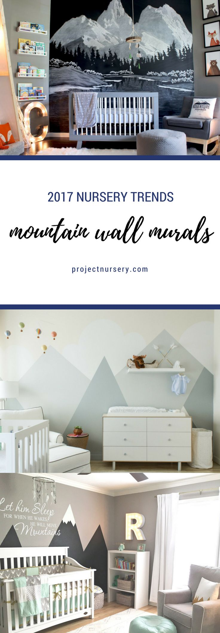 2017 Nursery Trends: MOUNTAIN WALL DECOR. Outdoors and adventure themed children's spaces remain top trends, especially for gender neutral nurseries. But this year, those striking mountain peaks will become the big kahuna.