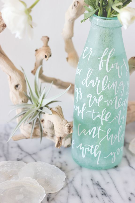 Frosted glass and hand painted text - by Lauren Saylor for Julep.