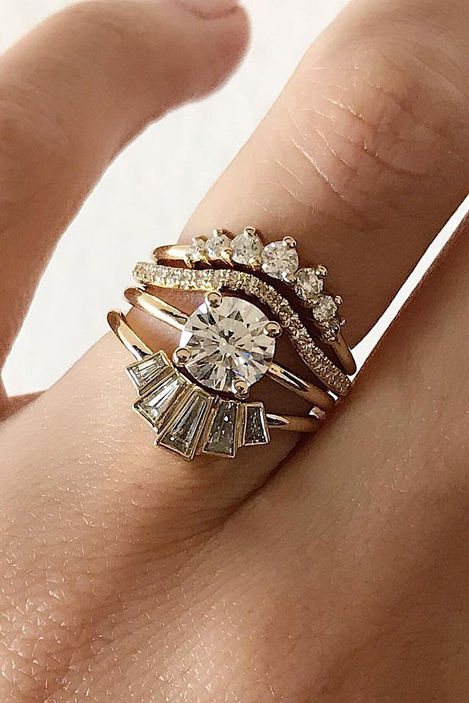 unique wedding rings round cut gold bands modern