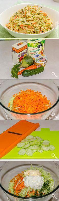Салат из зеленой редьки с огурцом и морковью — кулинарный рецепт