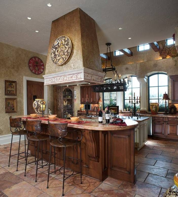 Stunning Mediterranean Decor At Home: Classic Mediterranean Decor Kitchen Interior Design With Bar Stood ~ rodican.com Art