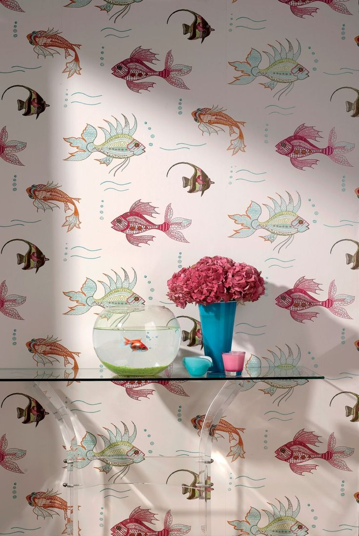 by Nina Campbell'Aquarium' by Nina Campbell is an underwater scene of fantastical marine life printed in multicoloured jewel tonesextra large roll that offers exceptional valueclick here if you wish to order samplespattern repeat 27 inroll 27 in wide, 33 ft longcoverage 75 sq. ft.