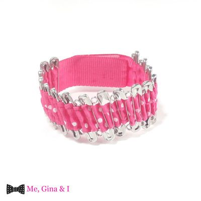 Pink dot safety pin bracelet.