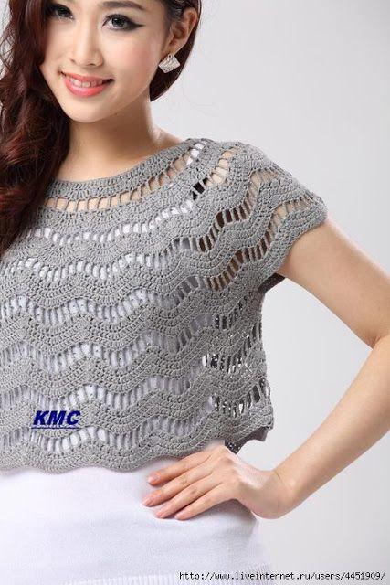 louca por linhas - crochet e patchwork: Blusa cropped - ripple stitch