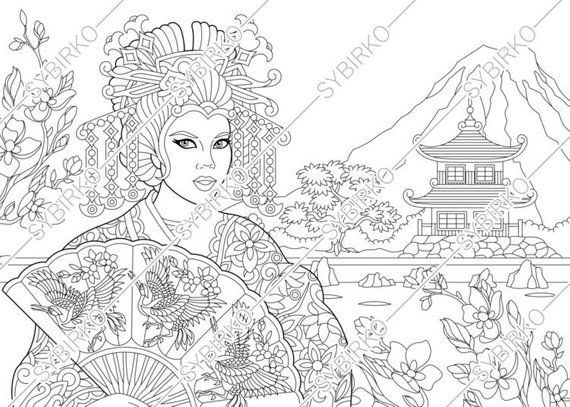 Coloring Pages For Adults Japanese Geisha Adult Coloring Pages