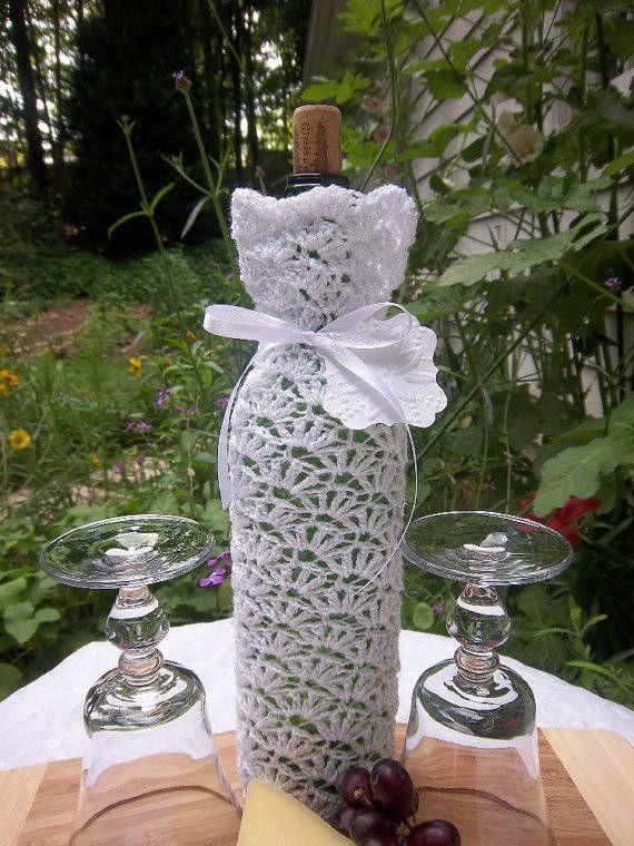 Etsy'sDarlenesGiftShop crochet wine bags    para envolver botellas