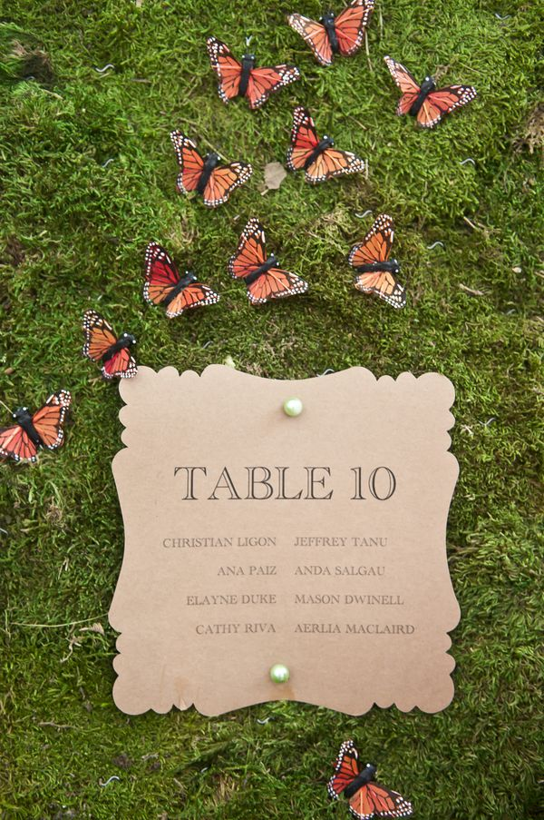 creative table assignment display for enchanted forest wedding
