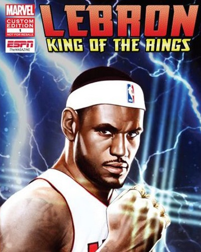 LeBron James King Of The Rings, and ESPN and Marvel comic book.