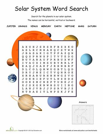 Science week 8-9.  Worksheets: Solar System Word Search