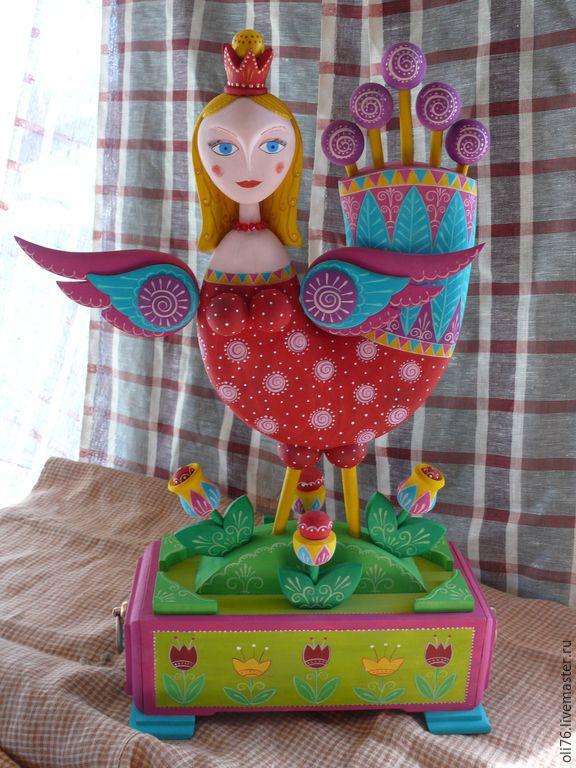 Купить Дева-Птица счастья. - разноцветный, птица счастья, шкатулка, сувенир, деревянный сувенир