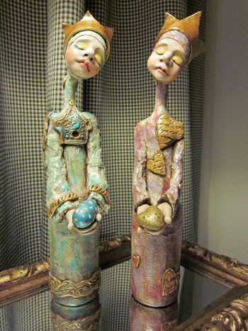 Bella Dona is a dreamy mixed media doll constructed on a recycled bottle!  The figure is made from a mixture of clays and plaster cloth and is decorated with items of significance to you.