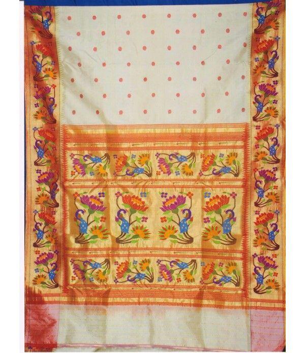 White flower work Handloom Paithani Saree
