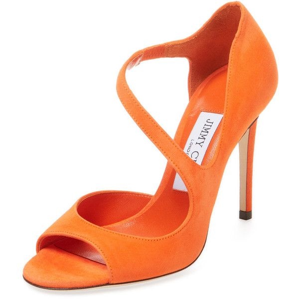Jimmy Choo Women's Dawes 100 Suede Sandal - Orange, Size 37.5 (€365) ❤ liked on Polyvore featuring shoes, sandals, orange, high heel shoes, orange sandals, suede sandals, orange heeled sandals and suede shoes