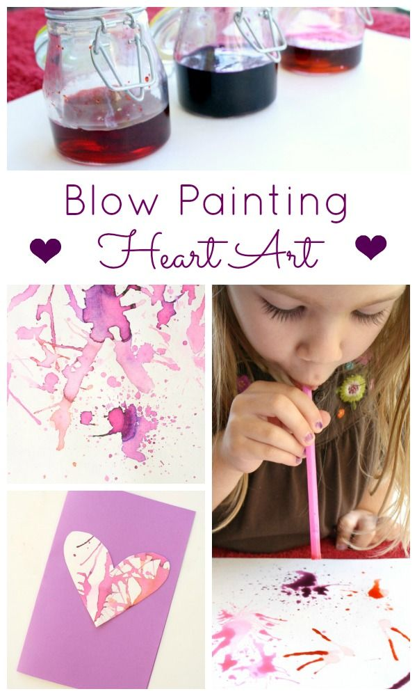 Blow Painting Heart Art Valentine's Day Activity for Kids