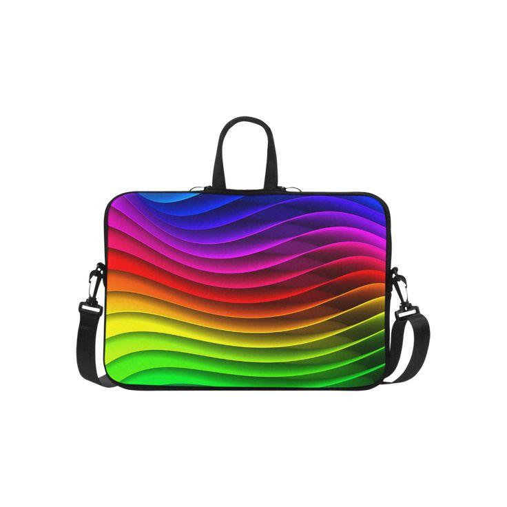 "Glossy Rainbow Stripes Laptop Handbags 15"""