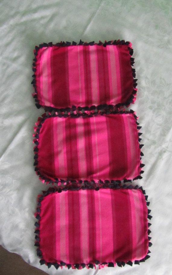 Pink striped fleece tie blankets/toy blanket/pet by BriersBlankets