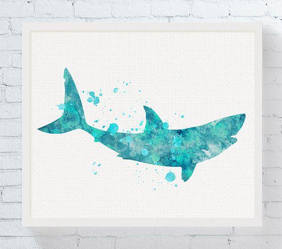 Shark Art Print Shark Watercolor Shark Decor by MiaoMiaoDesign