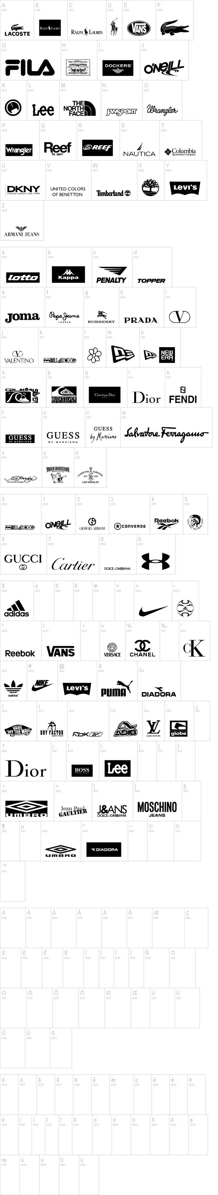 Clothing Logos Dingbats TFB
