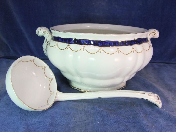 Large Vintage Booths China Table Open Server & Ladle c.1900  6406