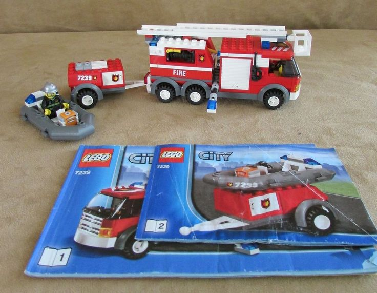 7239 Lego City Fire Truck complete police town station minifig fireman book #LEGO