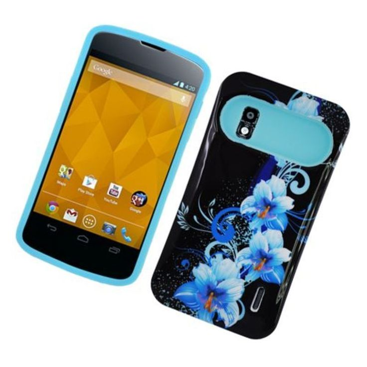 Insten / Blue Flowers Night Glow Hard PC/ Silicone Jelly Case Cover For LG Google Nexus 4 #2325096