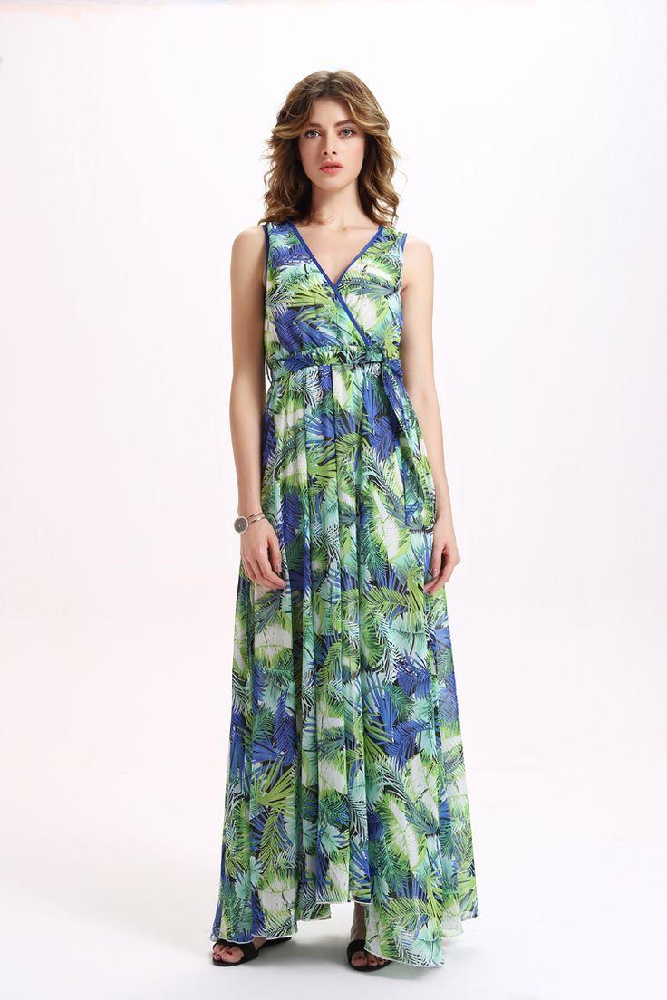 green blue floral printed maxi dress