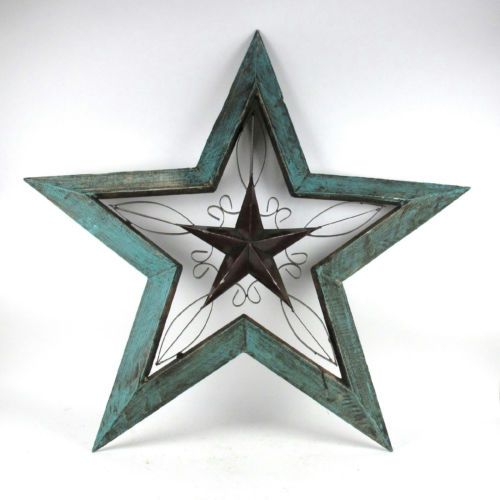 rustic turquoise wood metal 40 x 42 angled star wall decoration 20129 - Star Wall Decor