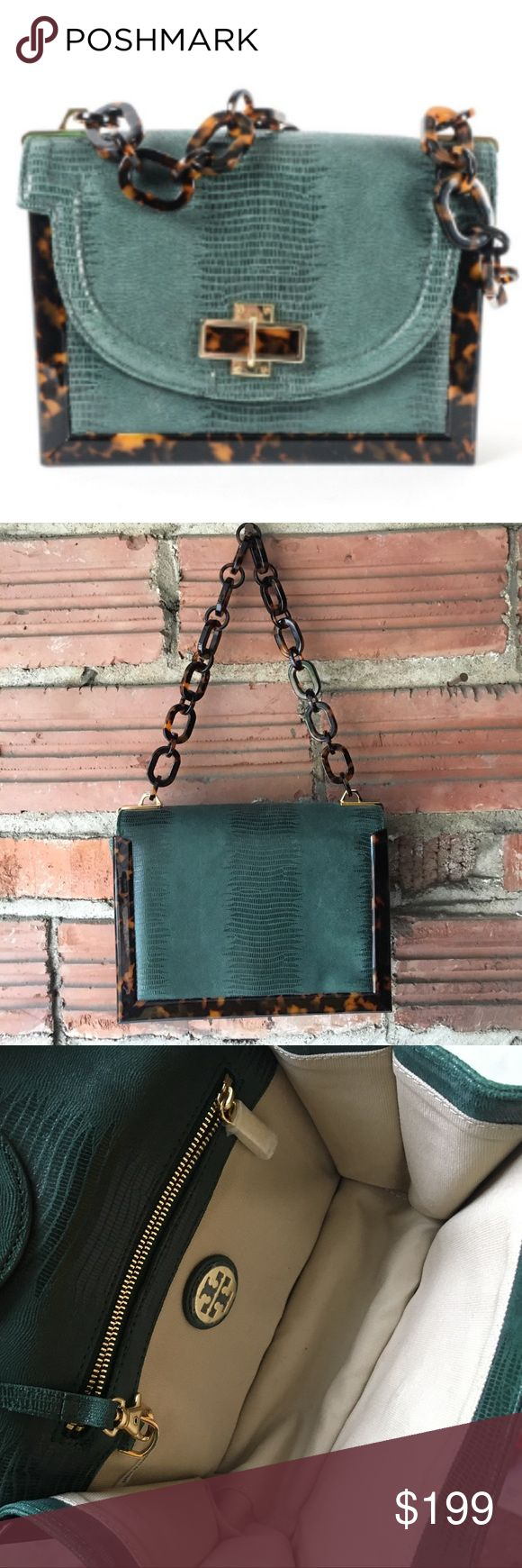 """Tory Burch bag Tory Burch """"Lizard-Embossed Small Resin Frame Bag"""" in color """"Malachite"""". Resin chain link shoulder strap is a tortoise color. Approx. 9""""W x 7""""H x 3""""D. In excellent condition, comes with original purchase receipt, packaging and dust bag. Tory Burch Bags"""
