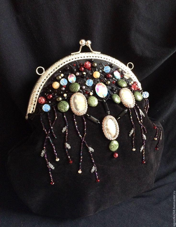 Купить Замшевая сумка Инфанта( вариация) - черный, орнамент, вечерняя сумка, Сумка с вышивкой