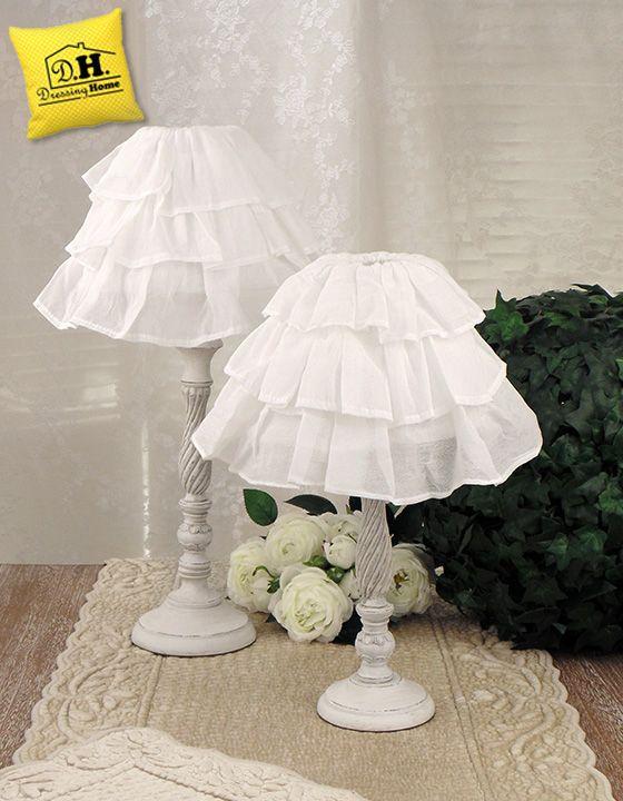 Lampada Da Tavolo Shabby Chic Fru Fru Collection Altezza 43 Cm Blanc