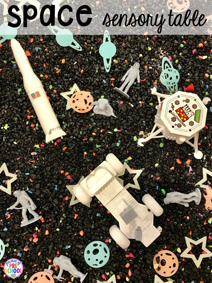 Space sensory table! Space theme activities and centers (literacy, math, fine motor, stem, blocks, sensory, and more) for preschool, pre-k, and kindergarten