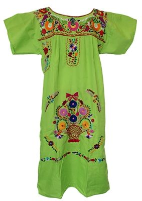 4db07dbe181 Shop Mexican Embroidered Pueblo Dress - Lime Green. These are traditional Mexican  dresses commonly used at Fiestas like 5 de Mayo that feature embroidered ...