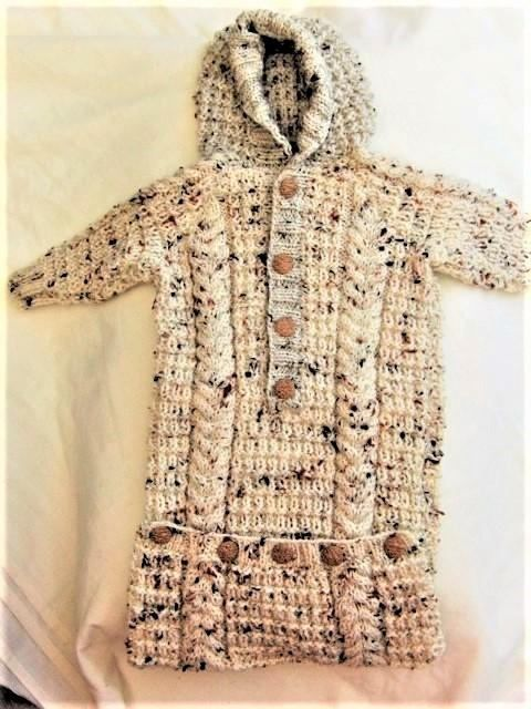 Hand Knitted Aran Baby Sleeping Bag Cabled Baby Cacoon Baby