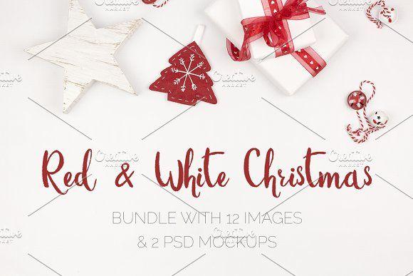 Red & White Christmas Pics & Mockups by Kreanille Design on @creativemarket