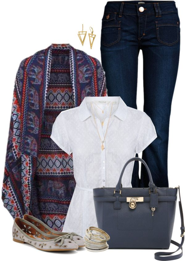 Pattern Cardigan spring outfit idea