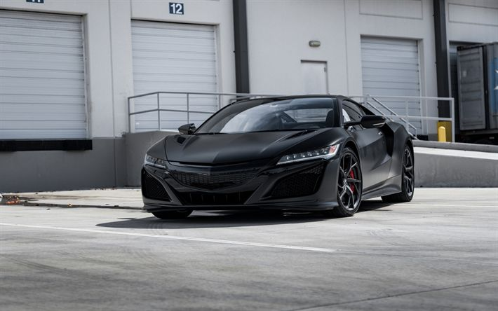 Download wallpapers Acura NSX, 2018, black sports car, sports coupe, black NSX, Japanese cars, Acura
