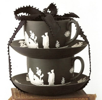 Black Jasperware Wedgwood... Beautiful!   I'd love a couple of cups/saucers.