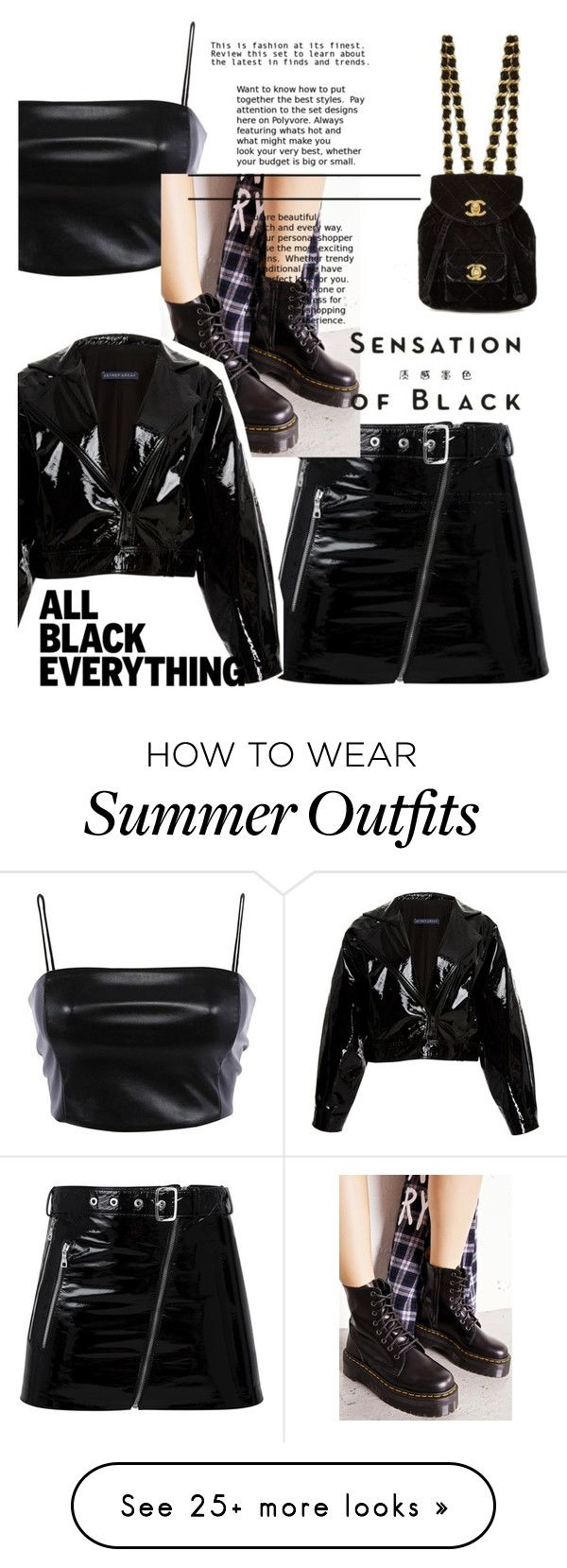 """""""Black is the warmest color #1"""" by nintygaal on Polyvore featuring Manokhi, Dr. Martens, Vision, Zeynep Arçay and allblackoutfit"""
