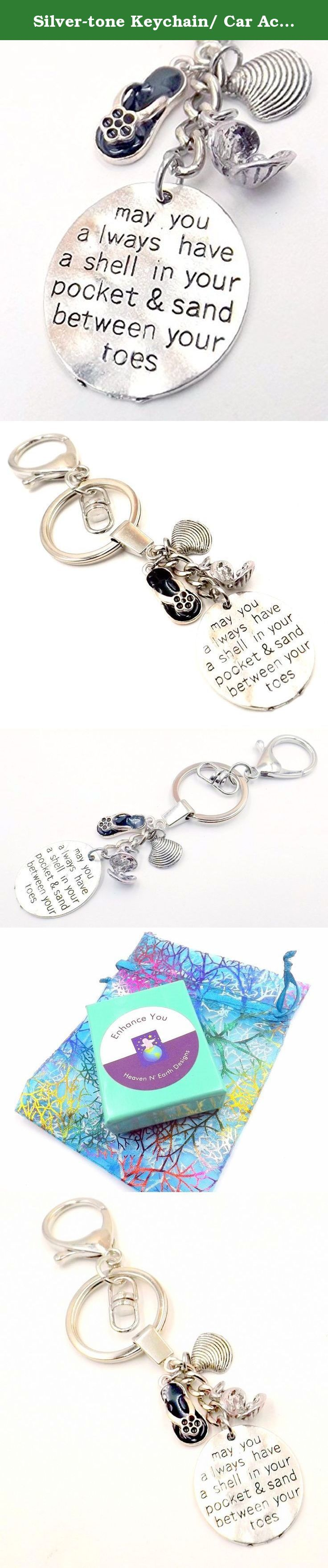 """Silver-tone Keychain/ Car Accessory- Pocket -Beach Lover's Blessing - Ocean Lovers Collection. This keychain in silver-tone features a disct with the message """"May you always have a shell in your pocket and sand between your toes"""". Accents include shell charms, and a flip-flop. The keychain itself is substantial and the 1.50 inch clasp swivels on a ring that is 1.15 in. This accessory would make the perfect Valentine's Day present or birthday gift for that special friend, husband, or wife...."""