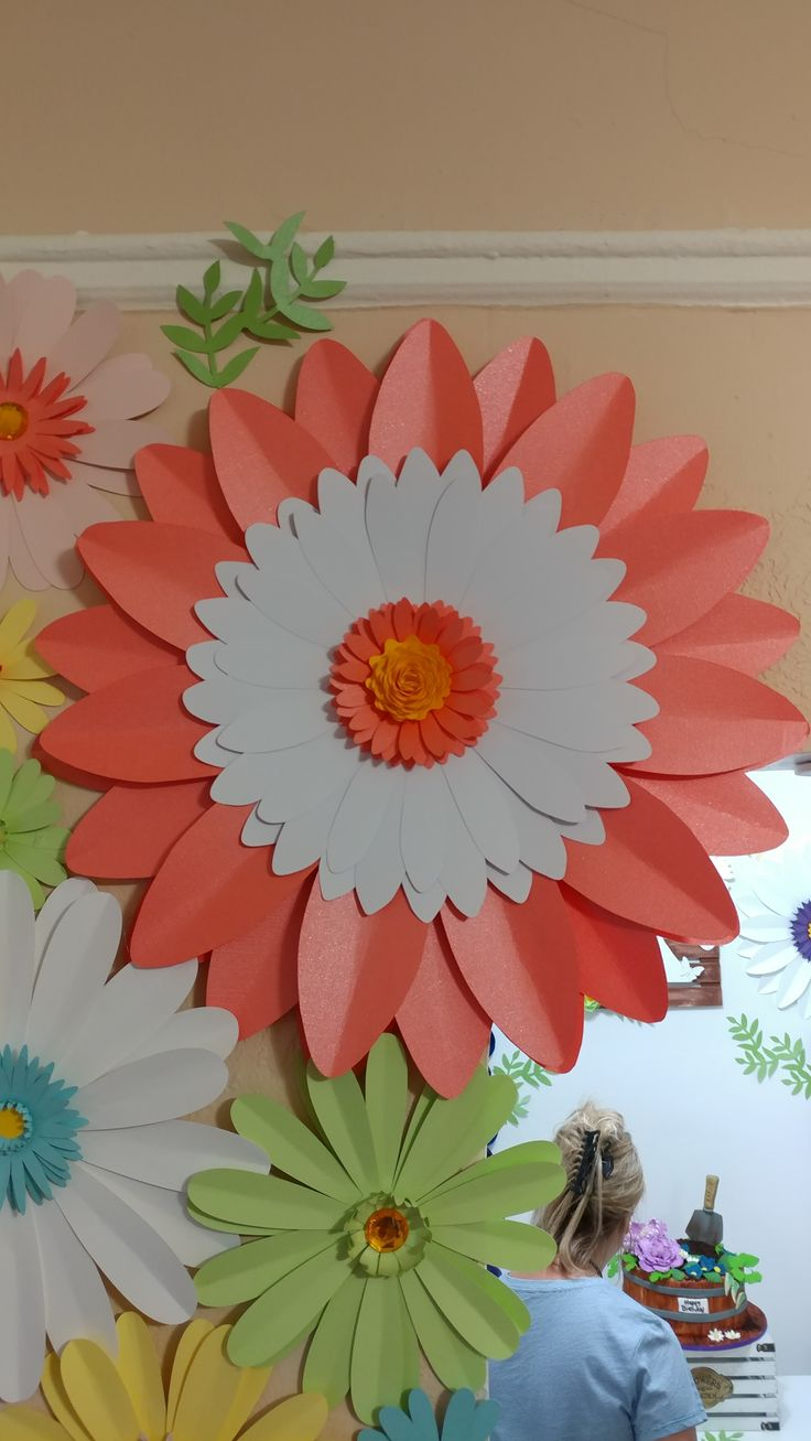Large Huge Paper Daisy Flower for house decor in Coral, White and Yellow.