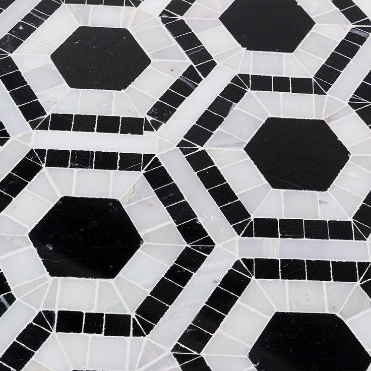 Splashback Tile Kosmos Black and Asian Statuary Hexagon Marble Mosaic Tile - 3 in. x 6 in. Tile Sample, Blacks/Asian Statuary