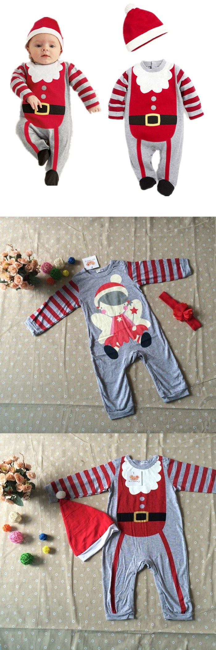 2015 new christmas santa clus and Angel baby girls and boys romper baby clothing ropa bebe with hat