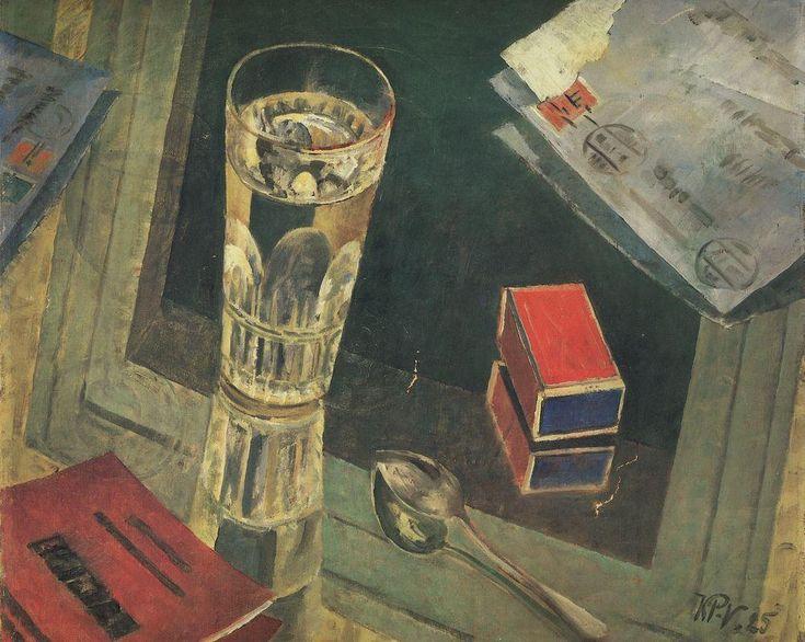 Kuzma Petrov-Vodkin: Still life with letters. 1926.