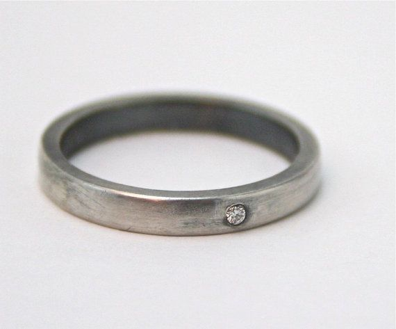 White Diamond Stacking Rings  Wedding Band Set  by CocoandChia, $310.00