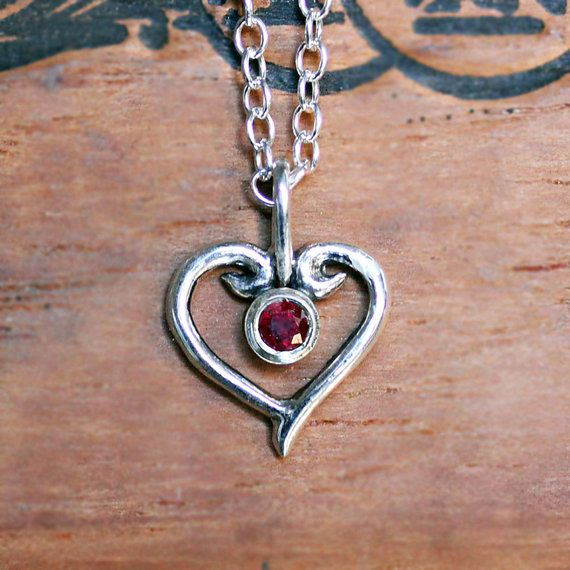 Ruby heart necklace ruby pendant ruby necklace by metalicious